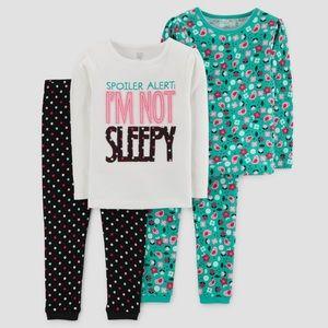 Carter's 4-piece pajama set 'I'm not sleepy'